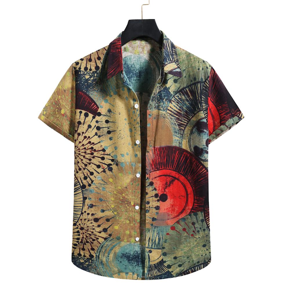 Men  Shirt Summer Linen Lapel Short-sleeved Abstract Printed Shirt Casual Beach Shirt XL