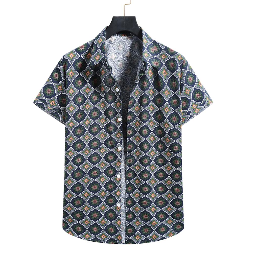 Men  Shirt Summer Lapel Short-sleeved Floral Printed Shirt Casual Cardigan Button Beach Shirt XL