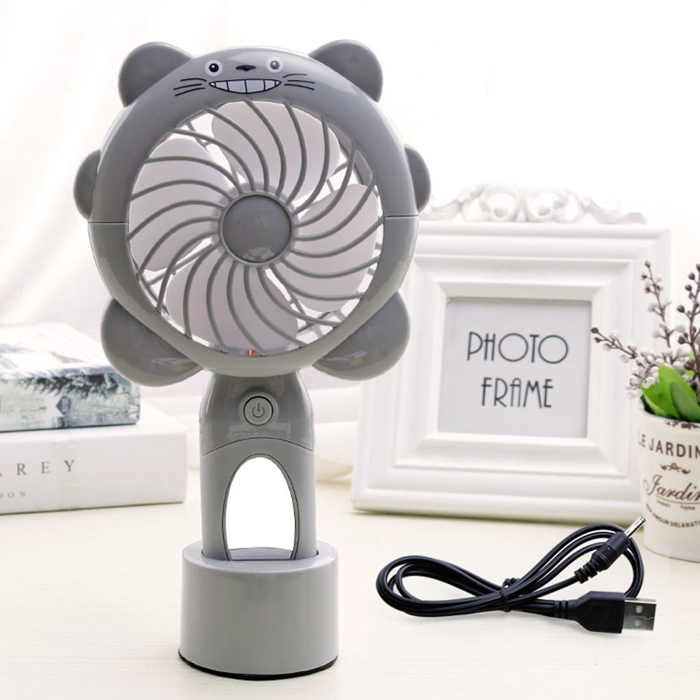 USB Charging Silent Small Fan Portable Handheld Fan for Home Office Student Dormitory Silver grey