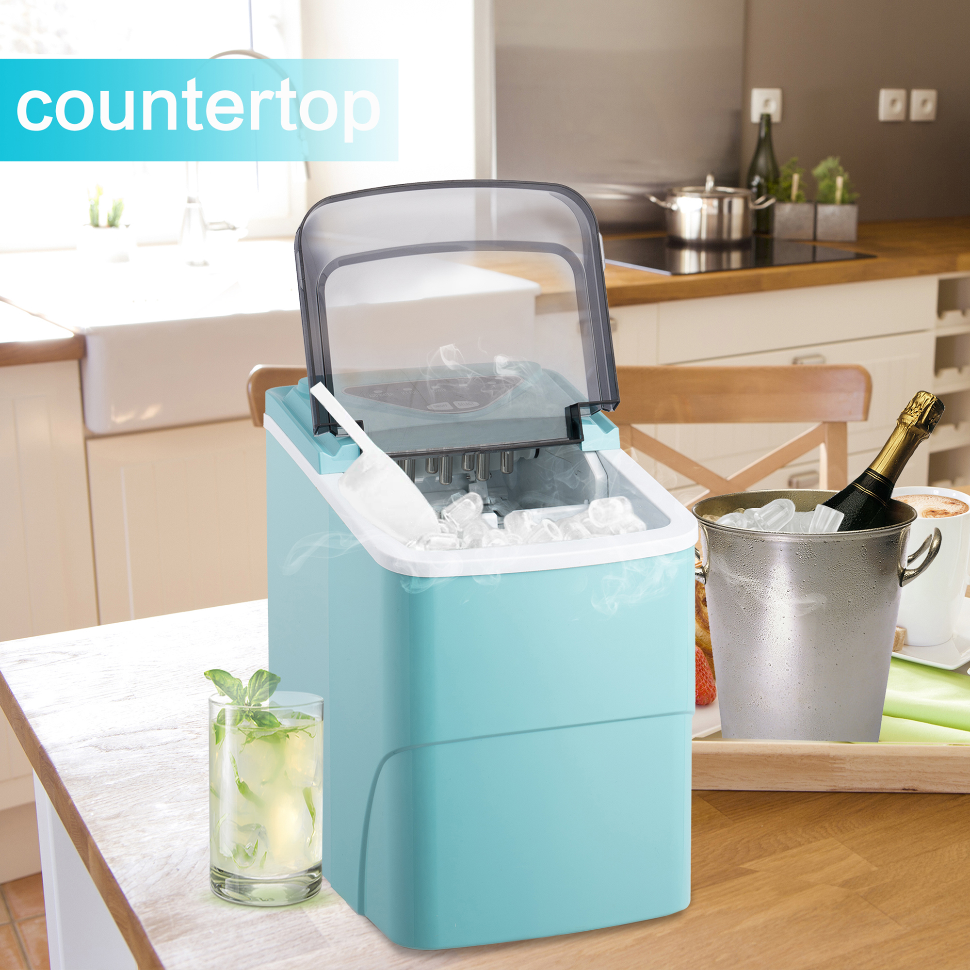 [US Direct] Countertop Ice Maker Machine, Portable Compact Automatic Ice Maker with Scoop and Basket, Perfect for Home/Kitchen/Office/Bar Mixed Drinks
