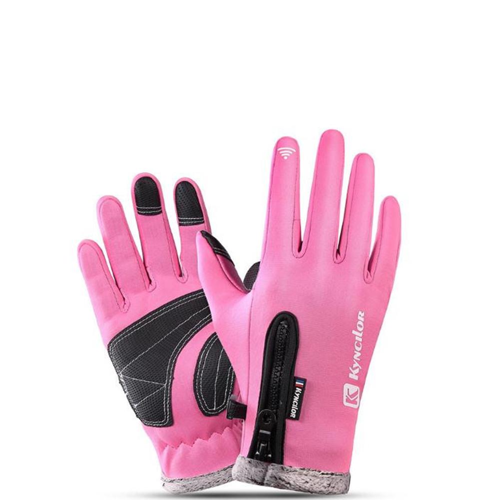 Autumn Winter Warm Telefingers Gloves Riding Driving Thicken Gloves for Men  Pink_M