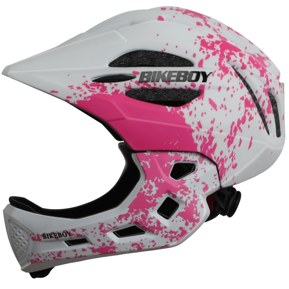 Kid Helmet Mountain Mtb Road Bicycle Detachable Protection Children Full Face Bike Cycling Helmet  Graffiti pink white_One size