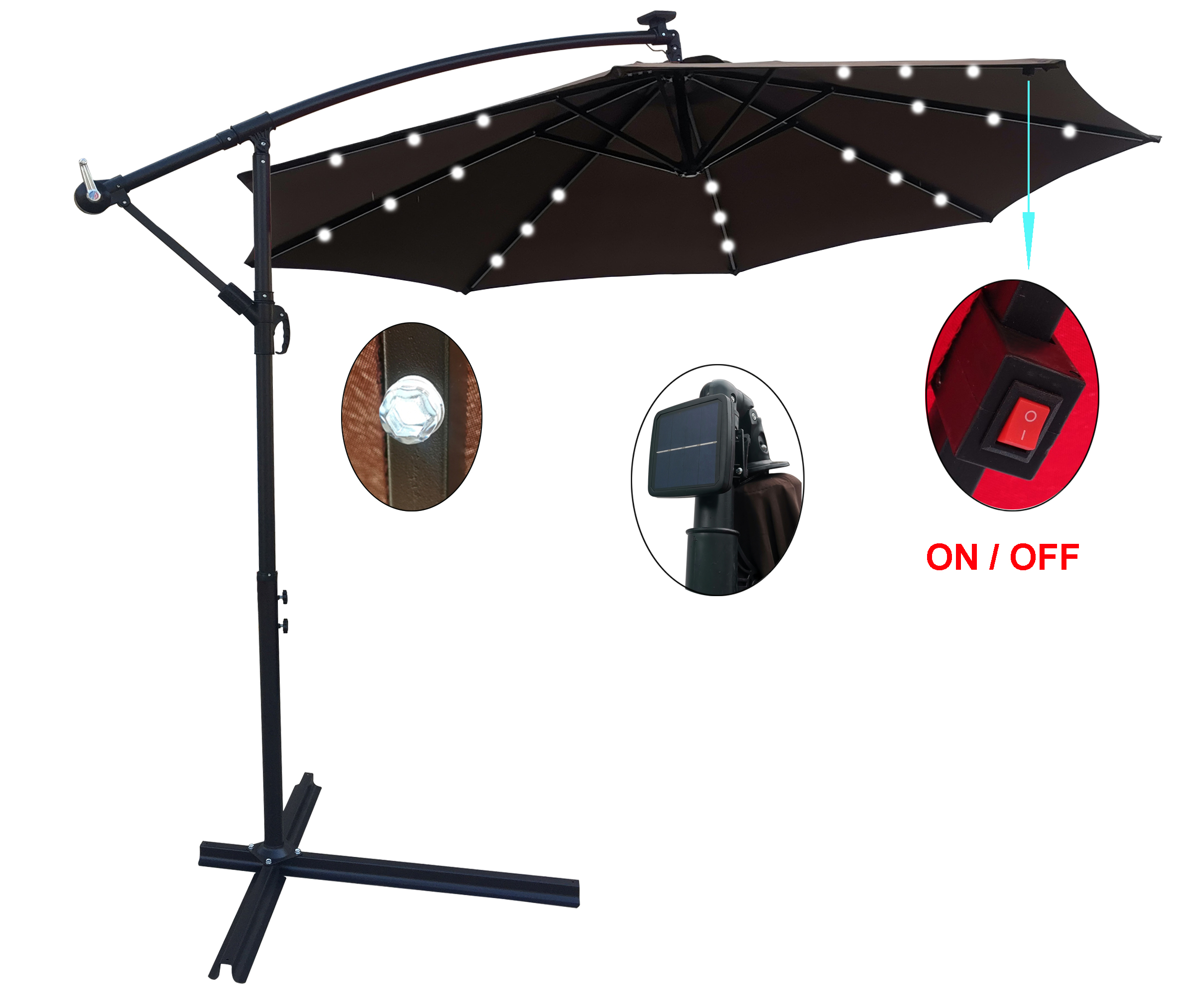 [US Direct] 10 ft Outdoor Patio Umbrella Solar Powered LED Lighted Sun Shade Market Waterproof 8 Ribs Umbrella with Crank and Cross Base for Garden Deck Backyard Pool Shade Outside Deck Swimming Pool
