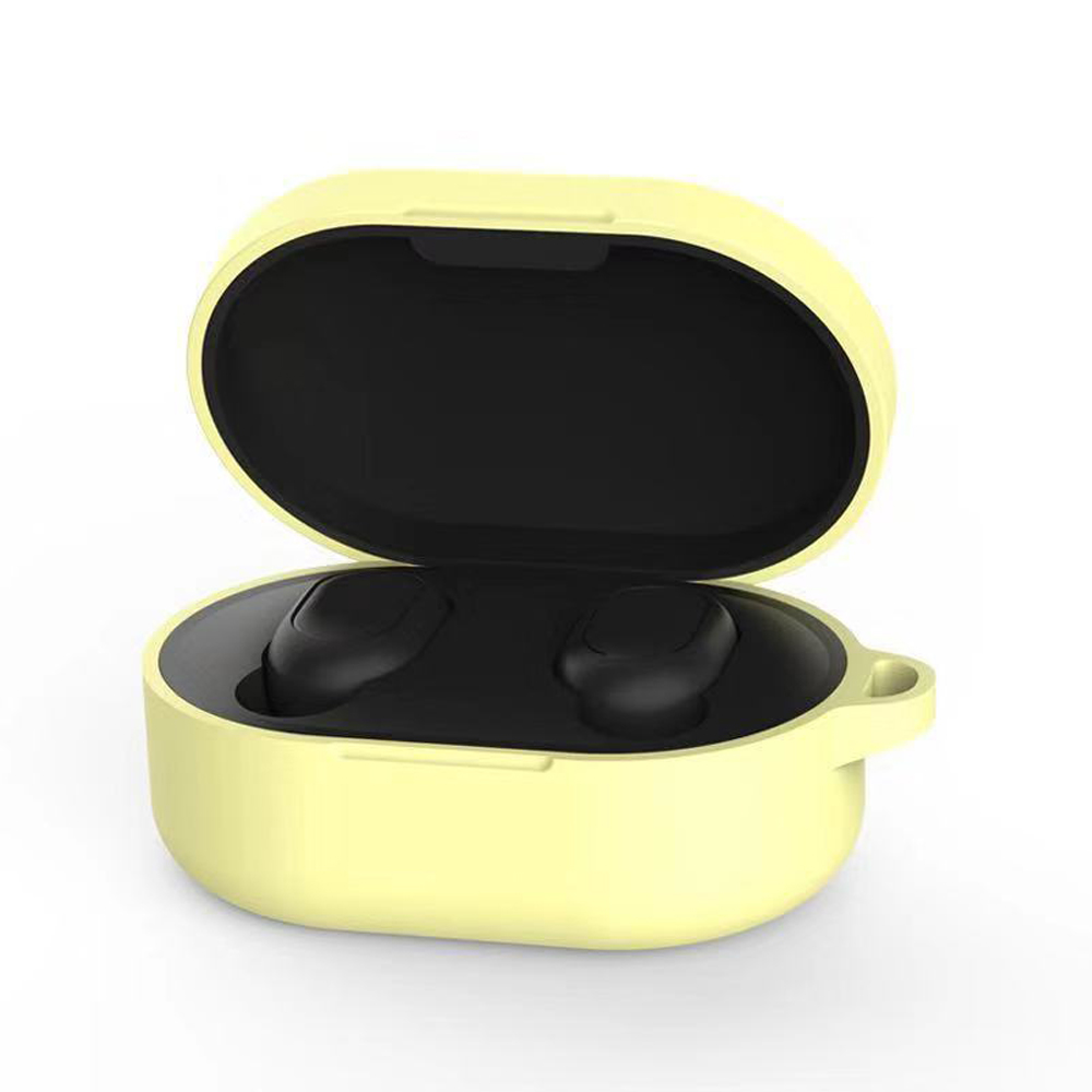 Silicone Earphone Case Cover for Xiaomi Redmi Airdots TWS Headphone Sports Bluetooth Earphone Case with Hook yellow