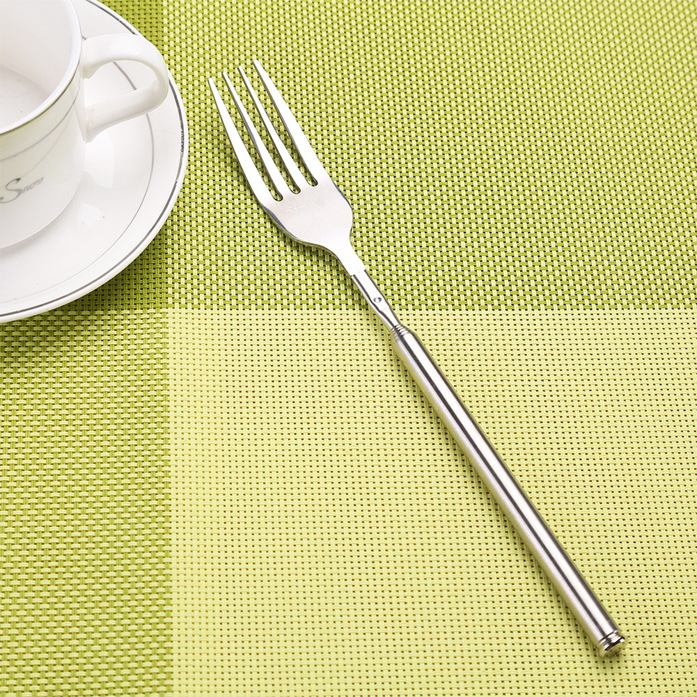 Fruit Solid Telescopic Dinner Long Silver Kitchen Fork Dining Stainless Style Dessert Western Steel Kitchen Tool Silver