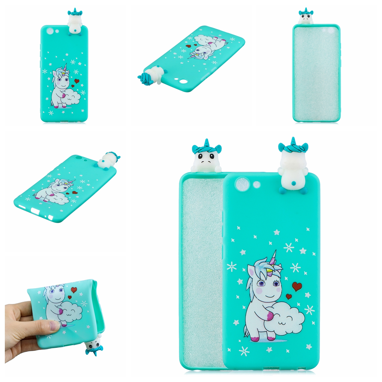 For VIVO Y71 3D Cute Coloured Painted Animal TPU Anti-scratch Non-slip Protective Cover Back Case Love unicorn