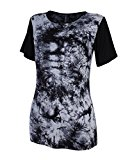 [US Direct] Leadingstar Tag + Ladies Round Neck Solid Color Loose T-shirt (Tie Dye) Black M