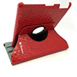 [US Direct] Dragonpad® 360 Degrees Rotating Stand Pu Leather Case for Ipad 3 (Red Luxury Crocodile Pattern)