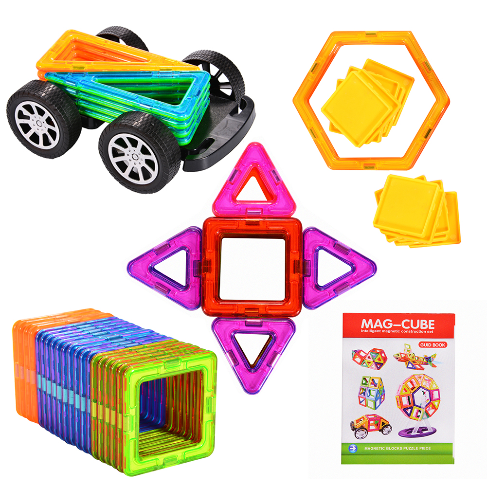 [US Direct] 70 Pieces Magnetic Building Blocks Set Educational Construction Stacking Toys Car Wheel Set