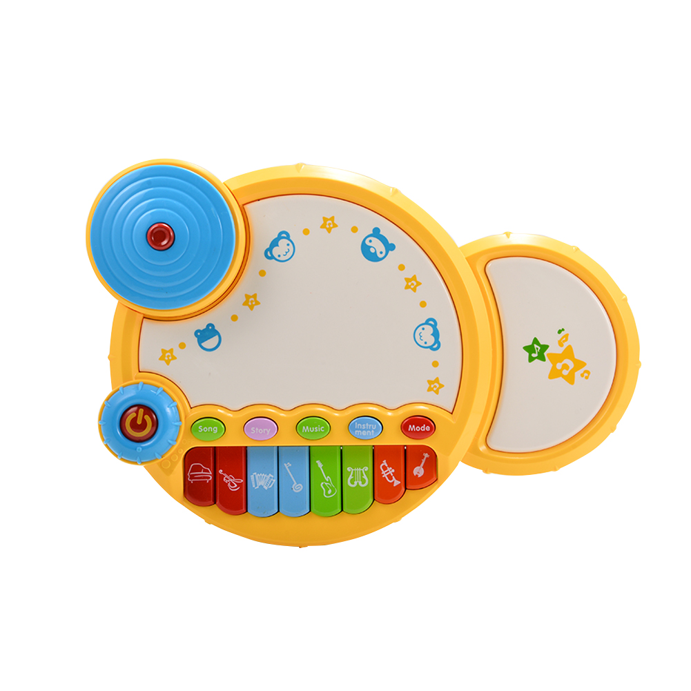 [US Direct] Baby Learning Musical Drum Toy with Light for Baby Early Development