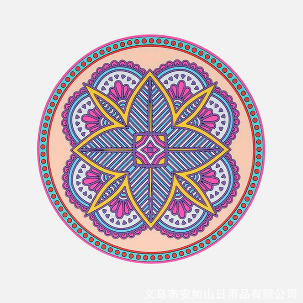 Heat Insulation Pad Non-slip Coaster Household Heat-resistant Round Silicone  Waterproof Anti-scald Bowl Mat Mandala pink_small