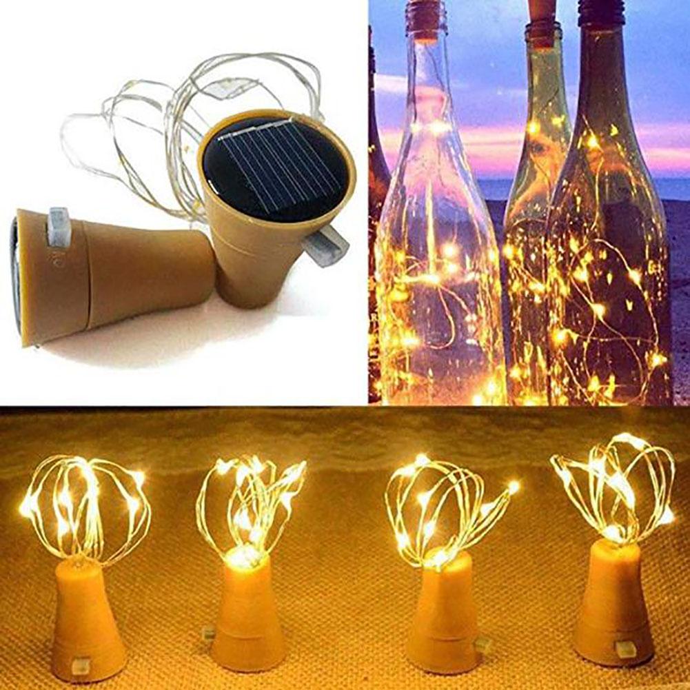 2M 20Pcs Christmas Colour Lamp Solar Wine Bottle Stopper lamp String Outdoors Waterproof Copper Wire Lamp String  Warm White_Solar 2m 20 light
