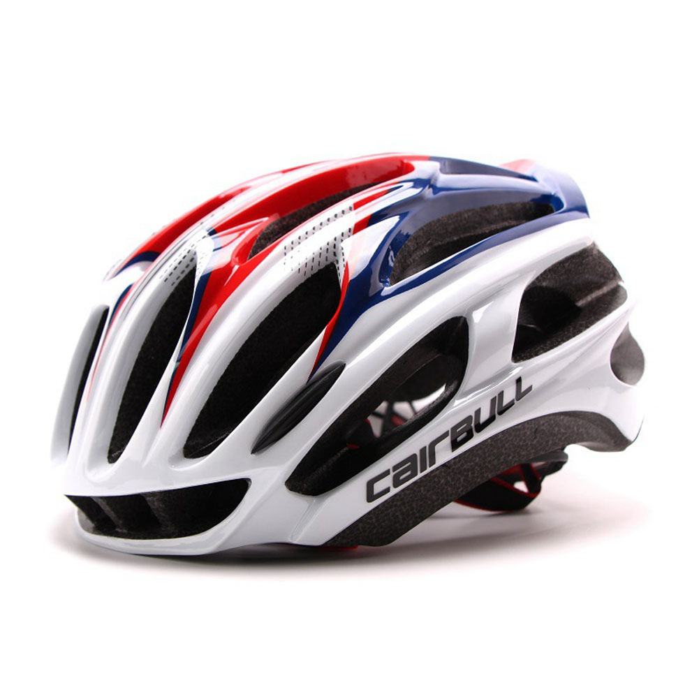 Ultralight Racing Cycling Helmet with Sunglasses Intergrally molded MTB Bicycle Helmet Mountain Road Bike Helmet Red and blue_M (54-58CM)