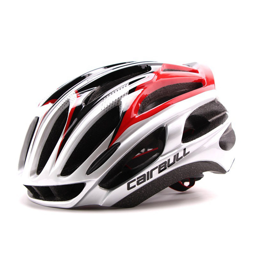 Ultralight Racing Cycling Helmet with Sunglasses Intergrally molded MTB Bicycle Helmet Mountain Road Bike Helmet Silver red_M (54-58CM)