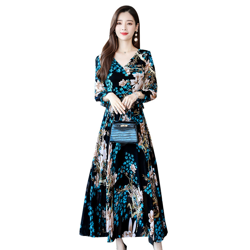 Women Long Sleeve Dress Fall Autumn Floral Printing Waisted V-neck Dress blue_XXXL