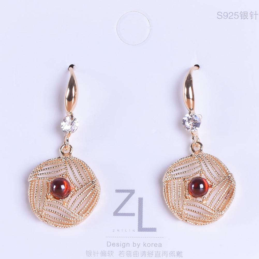 1 Pair of Women's Earrings Ins Simple Style Diamond-mounted Pearl Hollow Geometric Earrings red