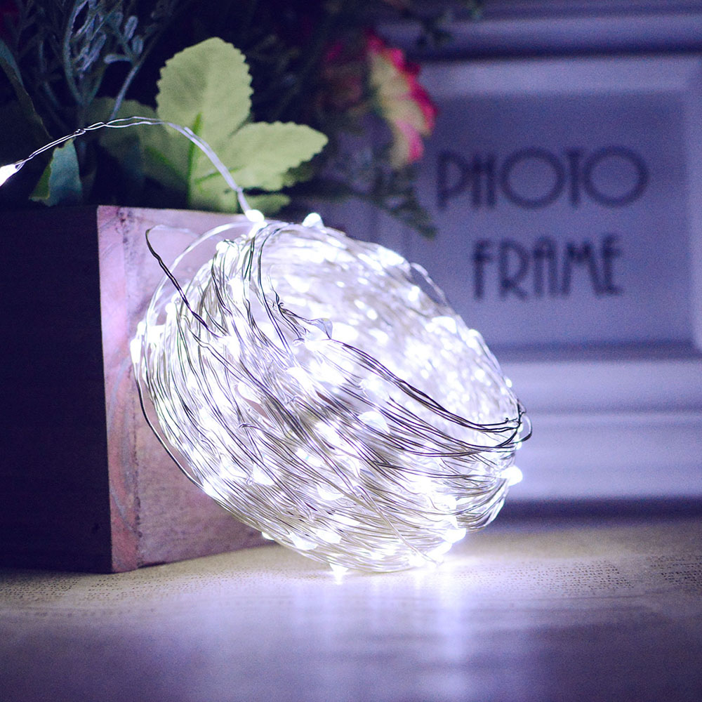 10M/20M 100LEDs/200LEDs Outdoor Waterproof Copper Wire Solar String Lights White light_20 meters 200 LED_(ME0004101)