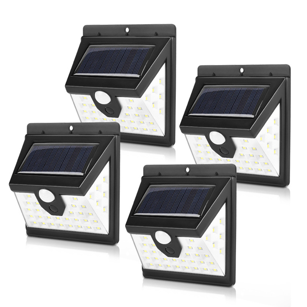 4Pcs Solar Powered Wall Lamp Motion Sensor 40LEDs IP65 Waterproof for Outdoor Garden Yard
