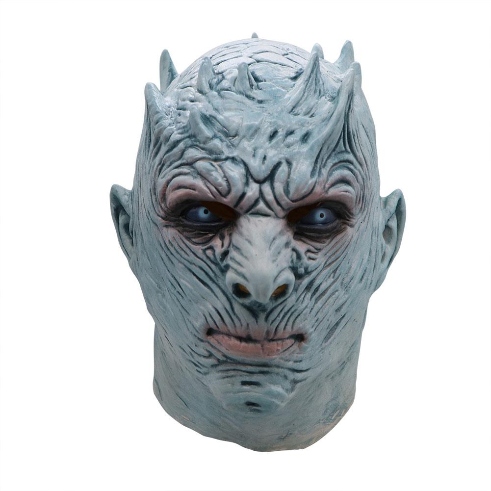 Halloween Mask Long Haired Night King Headgear Horror Latex Face Mask Short Night King