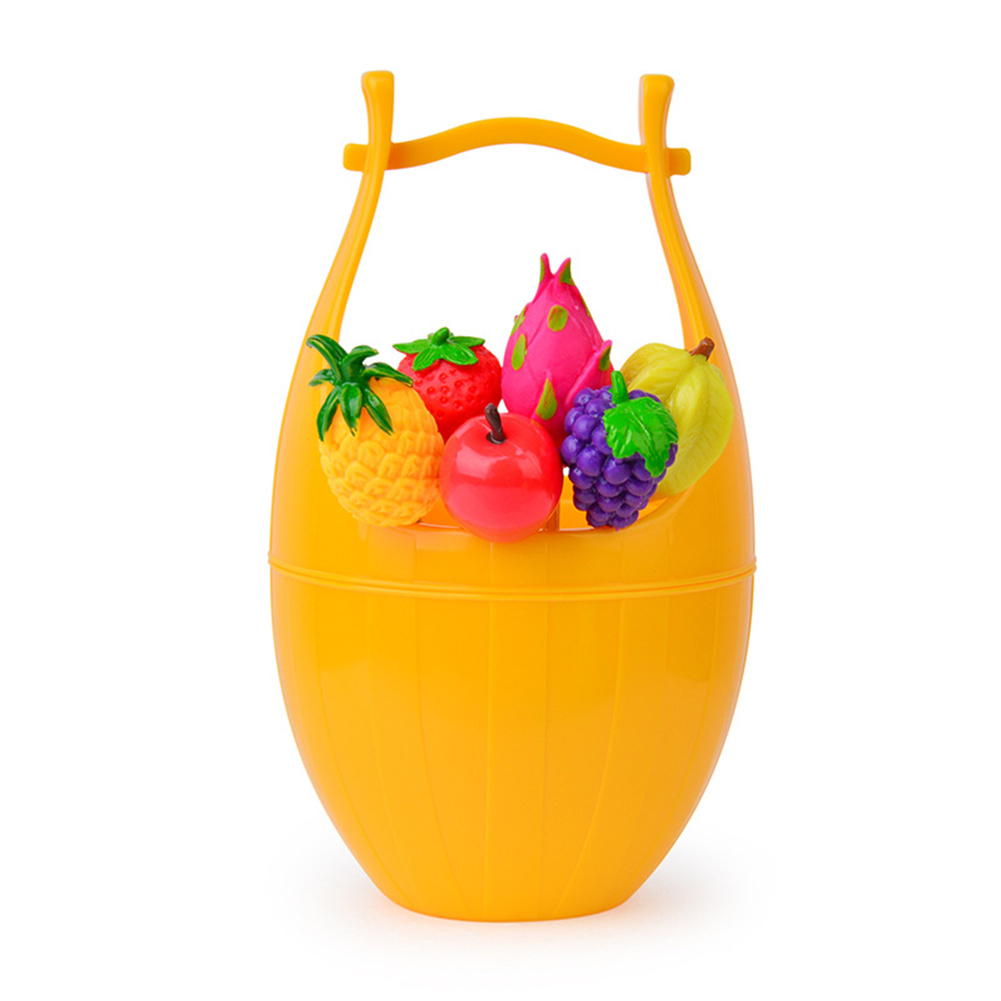 Fruit Shaped  Food  Fork With Barrel Holder Food Picking Tool For Kitchen Dining Room Yellow_Wooden bucket 1+6 sticks