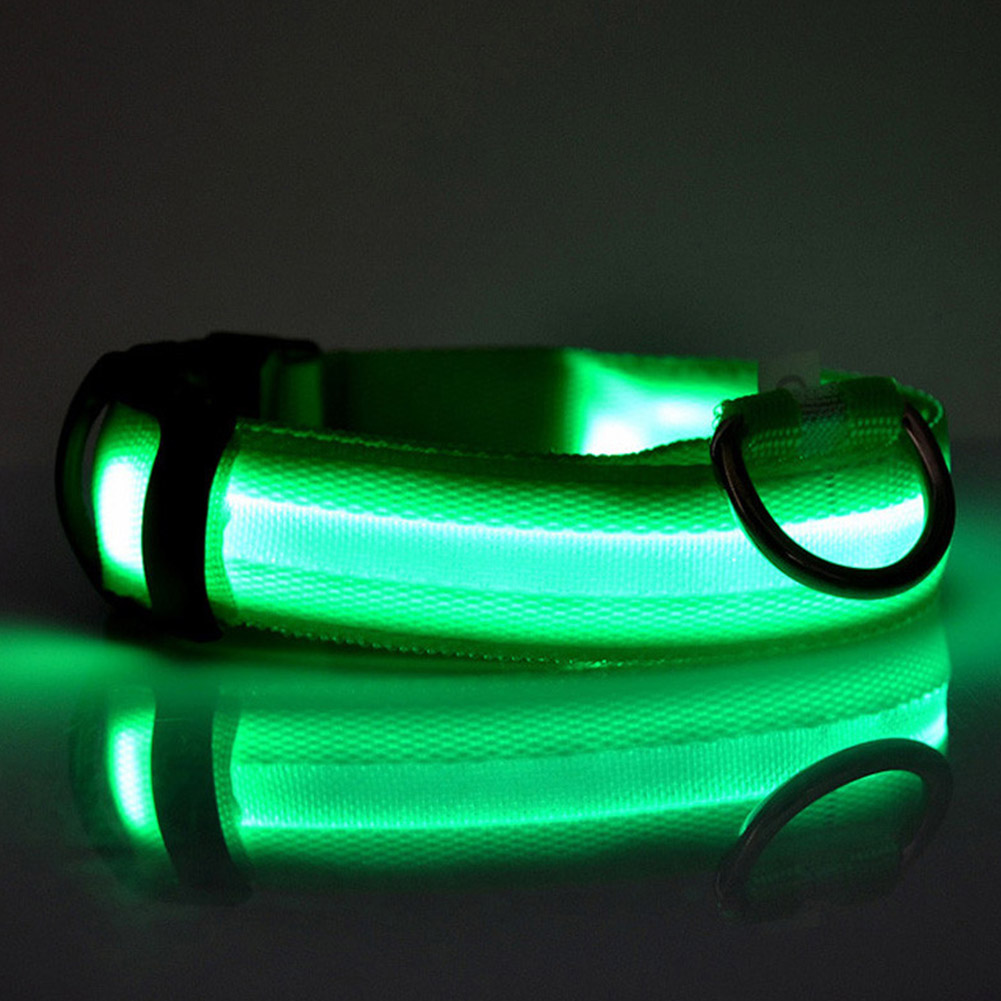LED Pet Cat Dog Collar Night Safety Luminous Necklaces for Outdoor Walking green_L