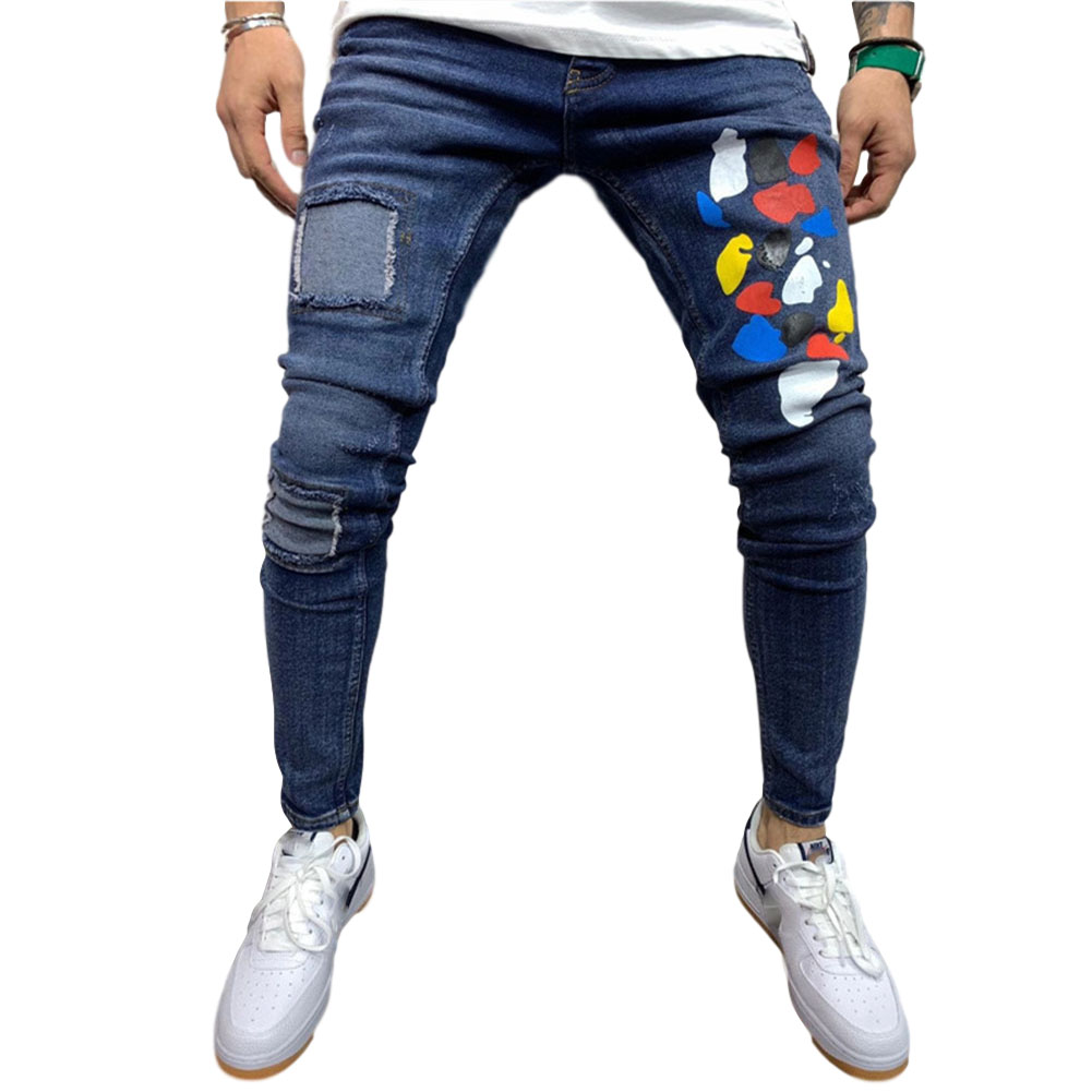 Men Jeans Patch Printing Loose Denim Trousers Pants for Adults Blue_M