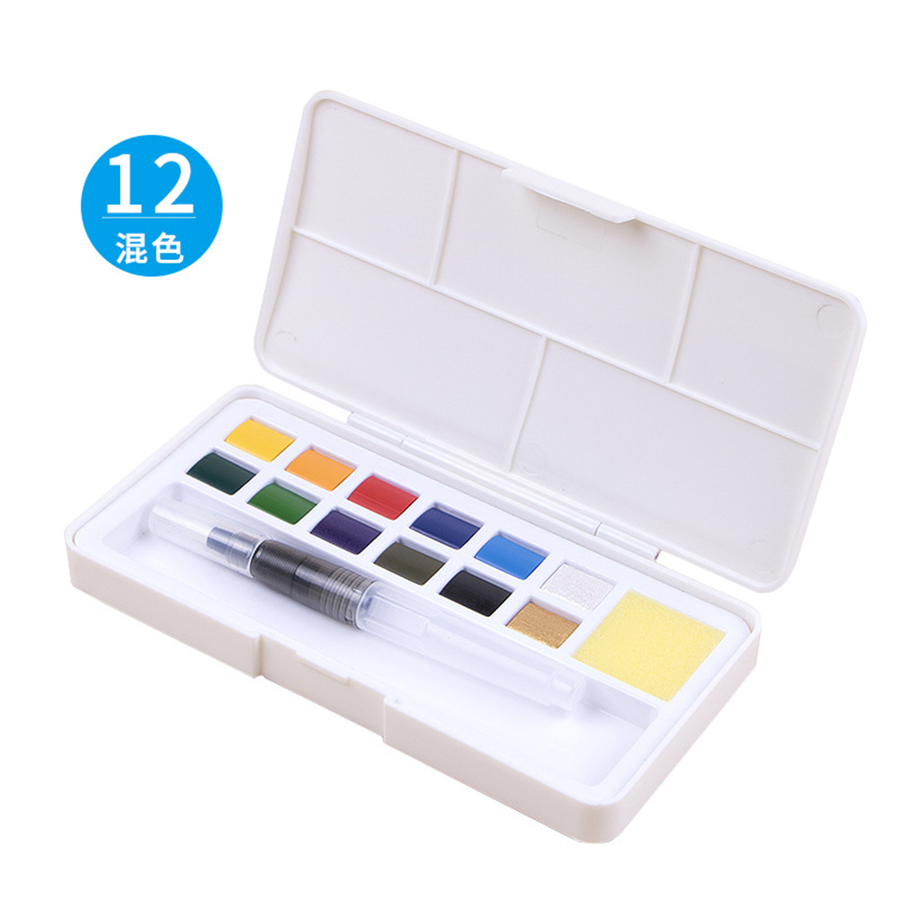 Pearlescent Color Solid Watercolor Paint  Set Nail Art Watercolor Painting For Beginners 12 color mixing