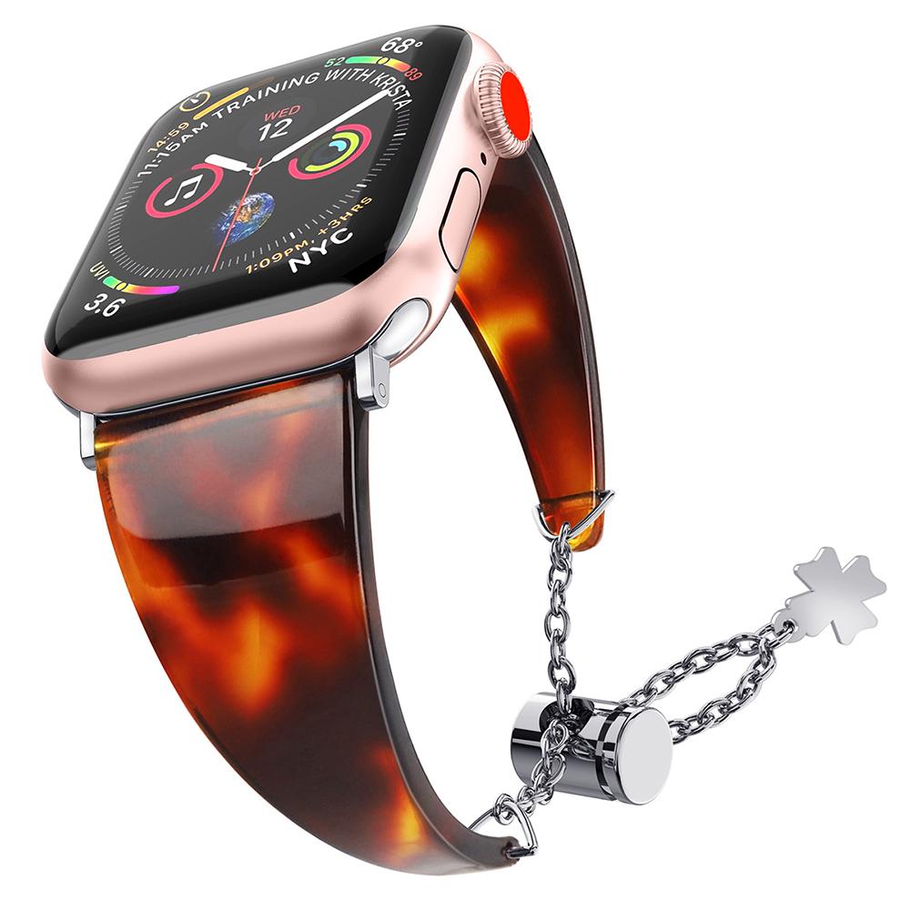 Stylish Waterproof Resin Metal Adjustable Strap Watch Band for Apple Watch1/2/3/4 Tortoiseshell 42MM