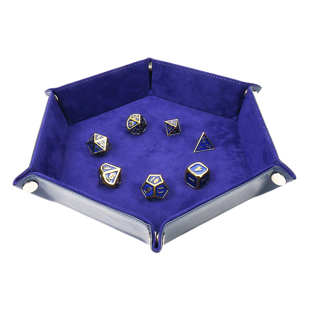 Solid Color Hexagonal Dice Tray Folding PU Storage Box for Table Games  sapphire_30.8*23*5cm