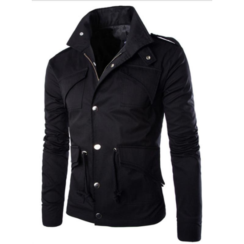 Men Casual Solid Color Jacket Chic Slim Multi-pocket Stand Collar Coat  black_(XXL)