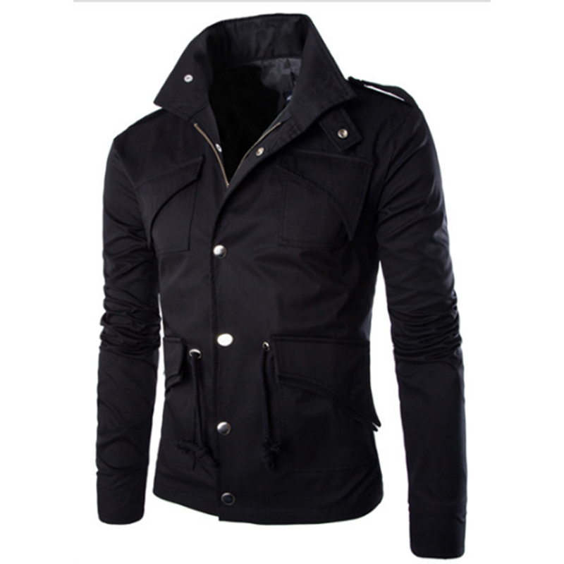 Men Casual Solid Color Jacket Chic Slim Multi-pocket Stand Collar Coat  black_(L)