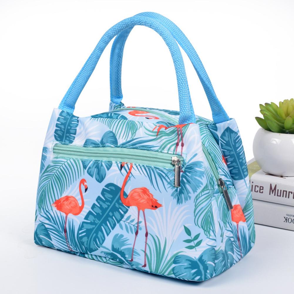 Women New fashion zipper portable insulation bag cartoon waterproof lunch bag with aluminum foil insulation lunch bag Flamingo