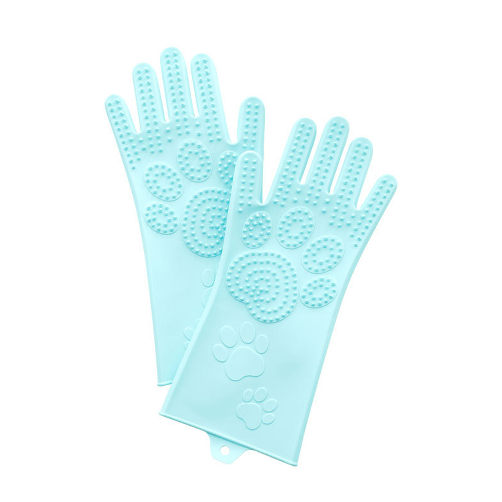 Silicone Grooming Glove Anti Biting Pet Hair Remover for Dog Cat Green_L