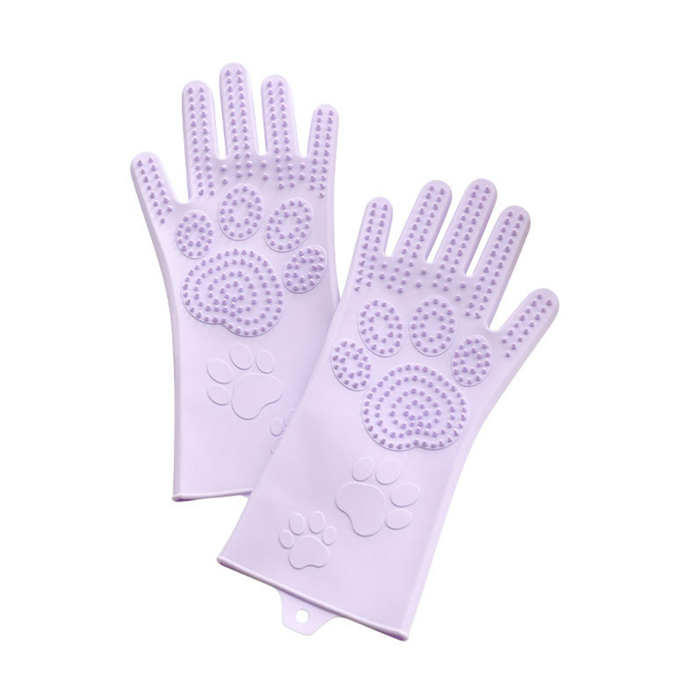 Silicone Grooming Glove Anti Biting Pet Hair Remover for Dog Cat Purple_L