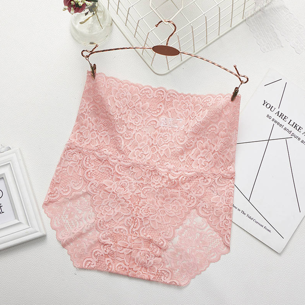 Women's Lingerie Sexy Lace Mesh Floral Seamless Plus Size High Waist Underpants Pink_M