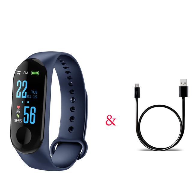 M3 Pro Smart Watch Sport Band Blood Pressure Sleep Monitor Drinking Remind Wristband Bracelet Navy blue
