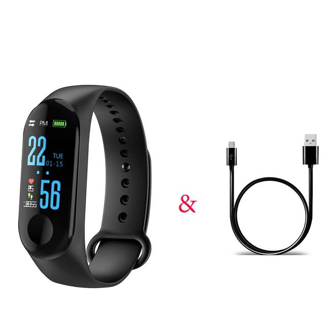 M3 Pro Smart Watch Sport Band Blood Pressure Sleep Monitor Drinking Remind Wristband Bracelet black