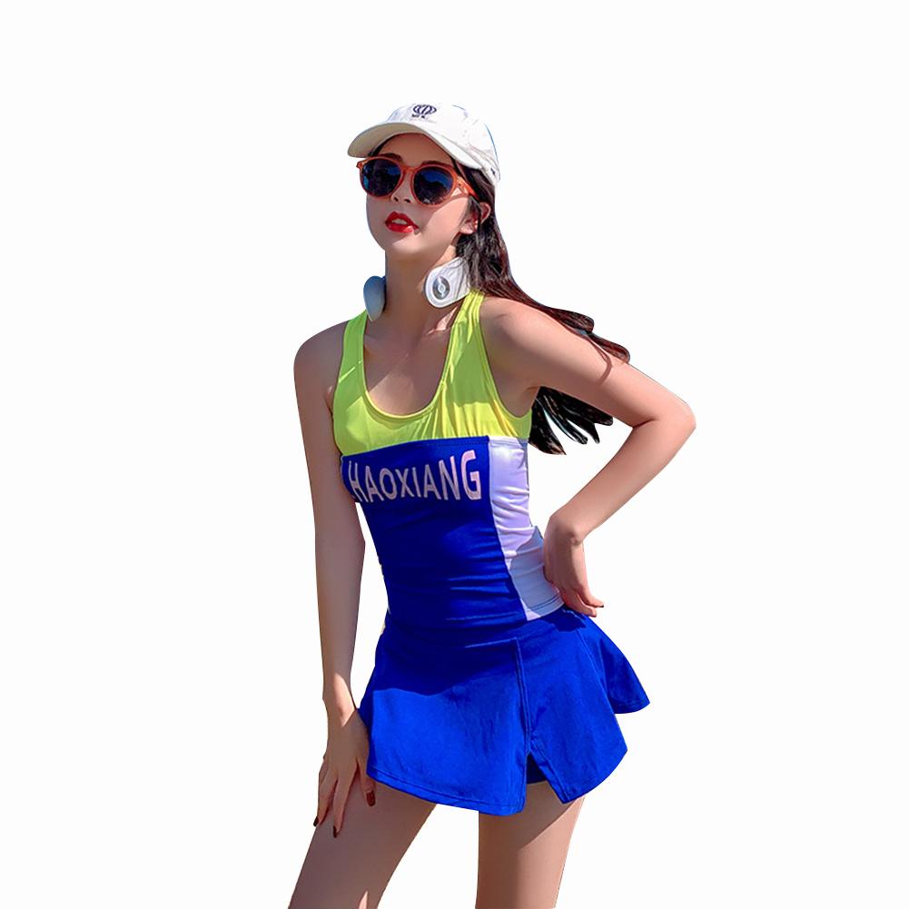 2 Pcs/set Women Swimming Suit Multicolor Sports Top+ Skirt Type Shorts Navy blue_M
