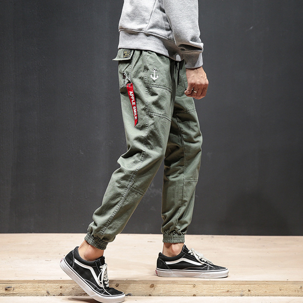 Men Fashion Casual Loose Cotton Casual Ankle Banded Pants Trousers ArmyGreen_L