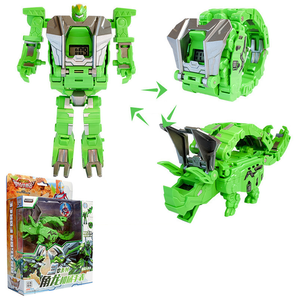 Steel Dragon Robot Electronic Watch Toys For Children Horned dragon (green)