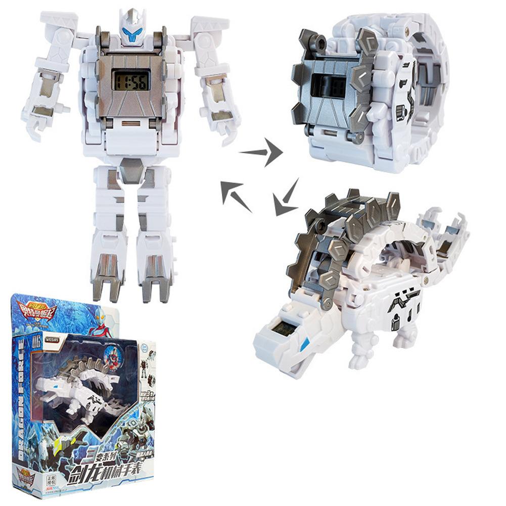 Steel Dragon Robot Electronic Watch Toys For Children Stegosaurus (silver white)