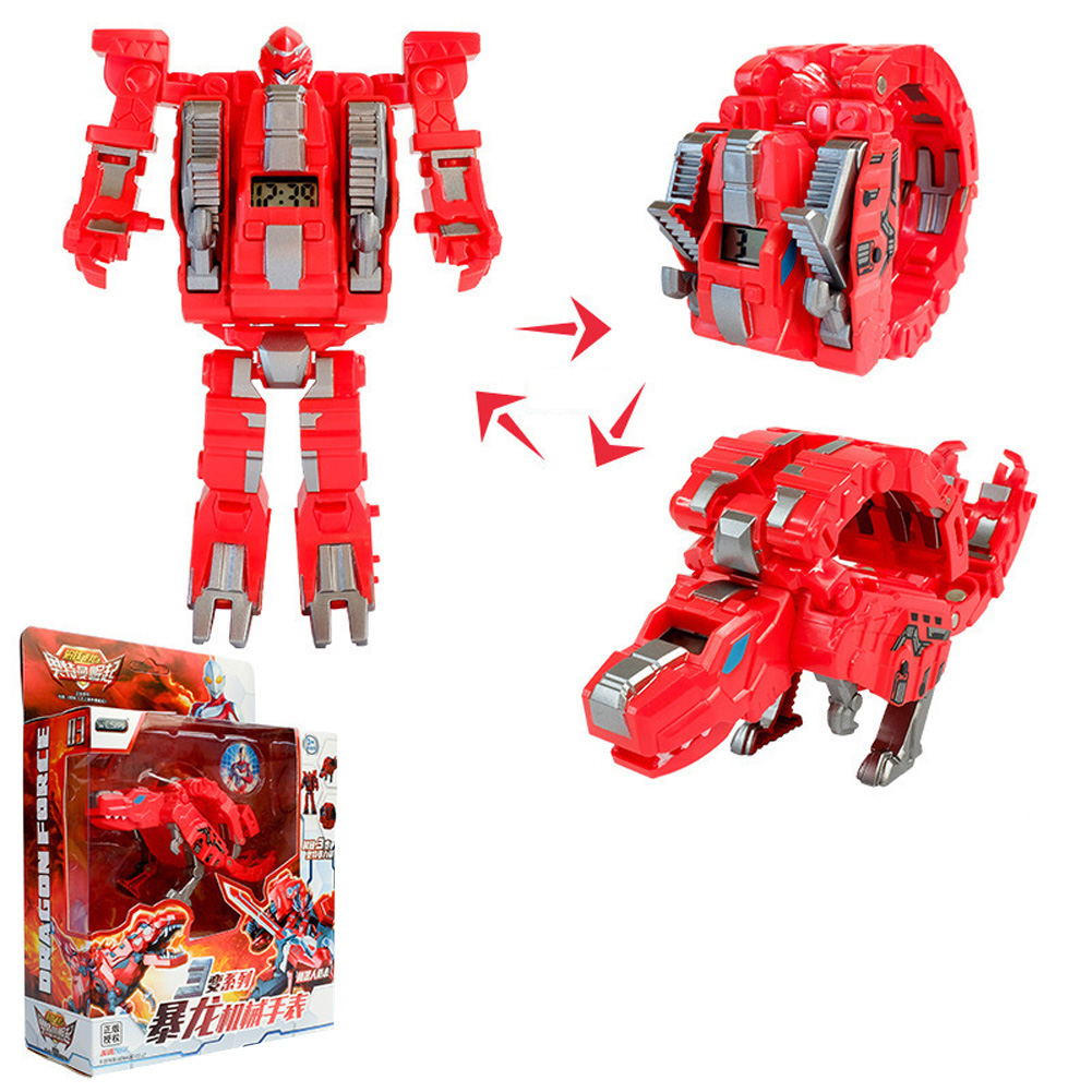 Steel Dragon Robot Electronic Watch Toys For Children Tyrannosaurus (red)