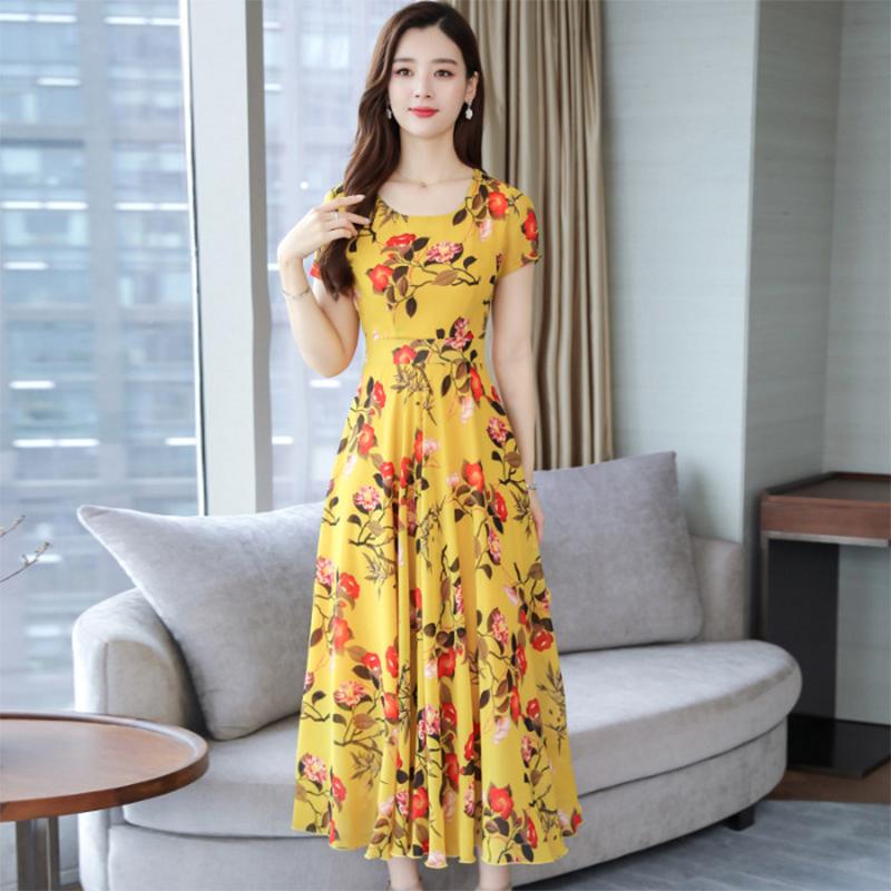 Women Summer Loose Round Collar Long Floral Pattern Short Sleeve Dress yellow_L