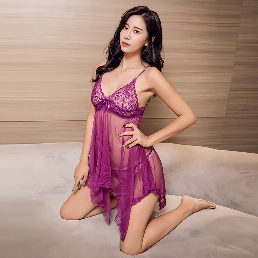 Women Lace Sling Nightdress + Briefs See-through Sexy Temptation Erotic Lingerie Underwear Purple_One size