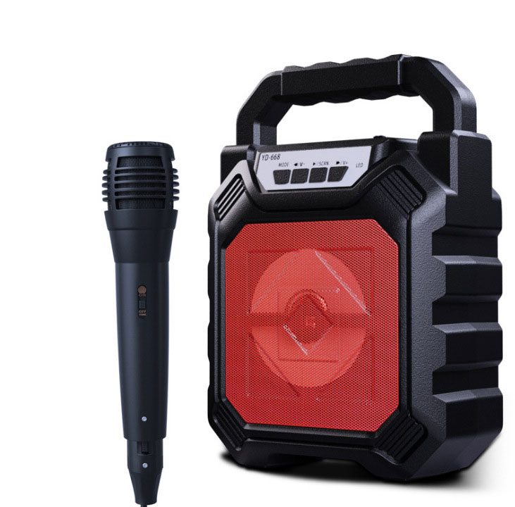 Outdoor Portable Wireless Bluetooth Speaker Can Insert Tf Card Usb Flash Disk High Power Loudspeaker red + microphone
