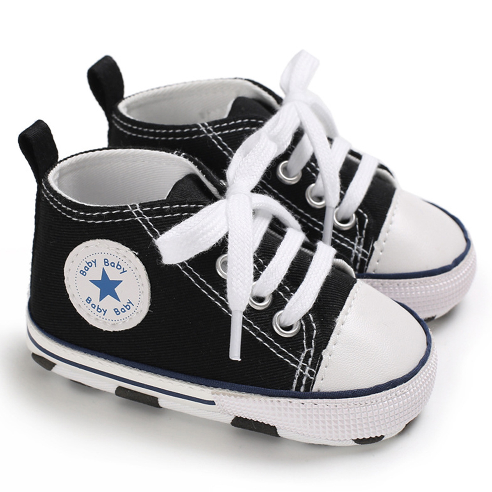 Baby Soft Soled Shoes Canvas Breathable Shoes black_13CM bottom length