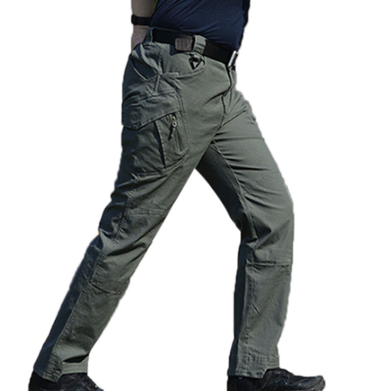 Men Outdoor Military Fan Multi-pockets Pant Breathable Cotton Casual Pants Gray green_S