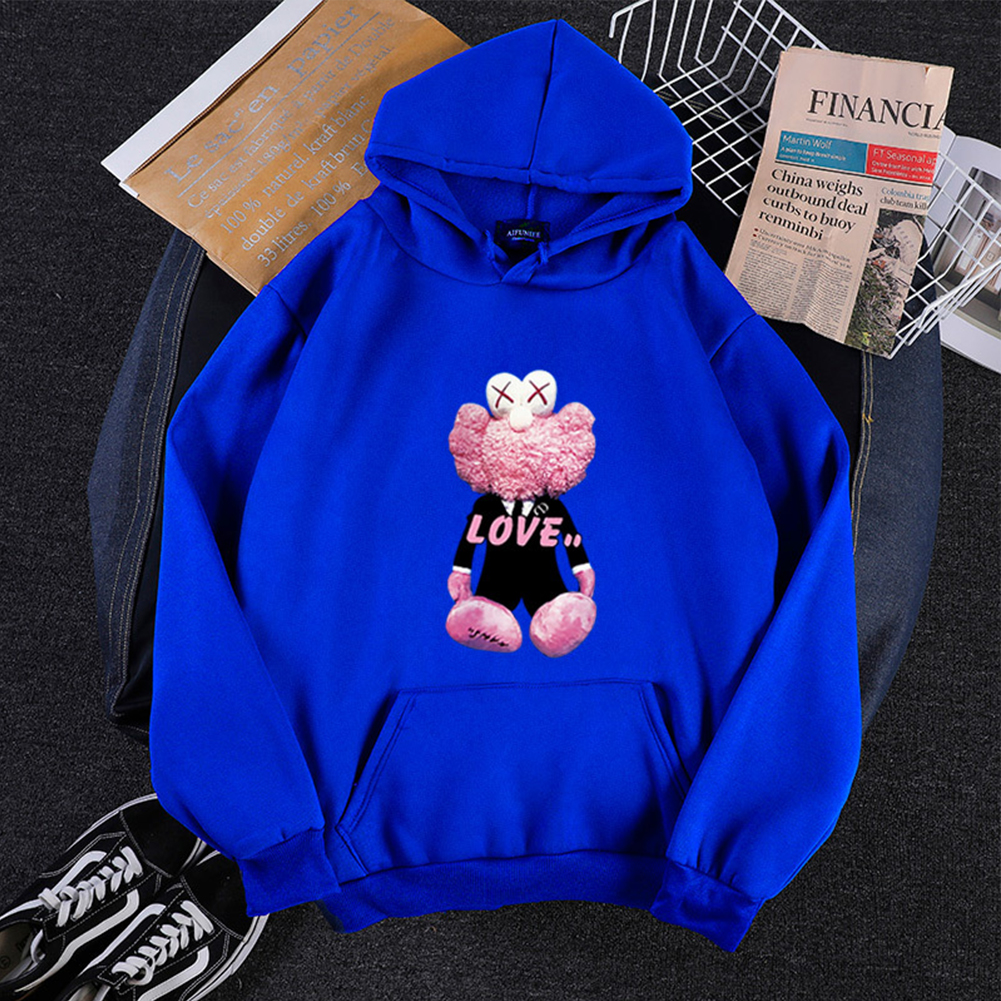 KAWS Men Women Hoodie Sweatshirt Cartoon Love Bear Thicken Autumn Winter Loose Pullover Blue_XXL