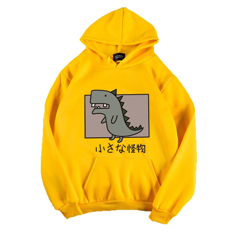 Boy Girl Hoodie Sweatshirt Cartoon Dinosaur Printing Spring Autumn Student Loose Pullover Tops Yellow_XL