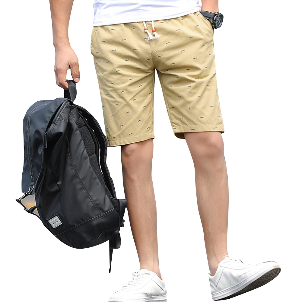 Men Cotton Middle Length Trousers Baggy Fashion Slacks Sport Beach Shorts Khaki (fish bone)_L